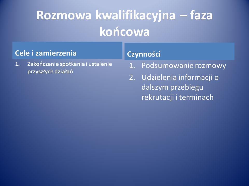 Rozmowa kwalifikacyjna – faza końcowa Cele i zamierzenia 1.Zakończenie spotkania i ustalenie przyszłych działań Czynności 1.Podsumowanie rozmowy 2.Udz
