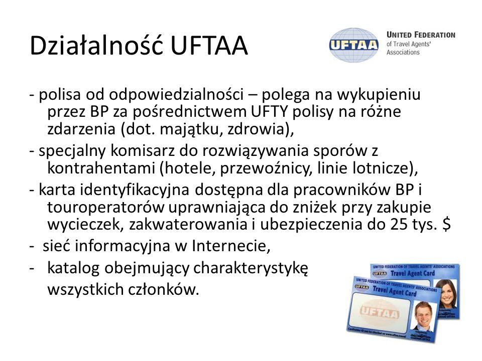 Działalność UFTAA - polisa od odpowiedzialności – polega na wykupieniu przez BP za pośrednictwem UFTY polisy na różne zdarzenia (dot. majątku, zdrowia