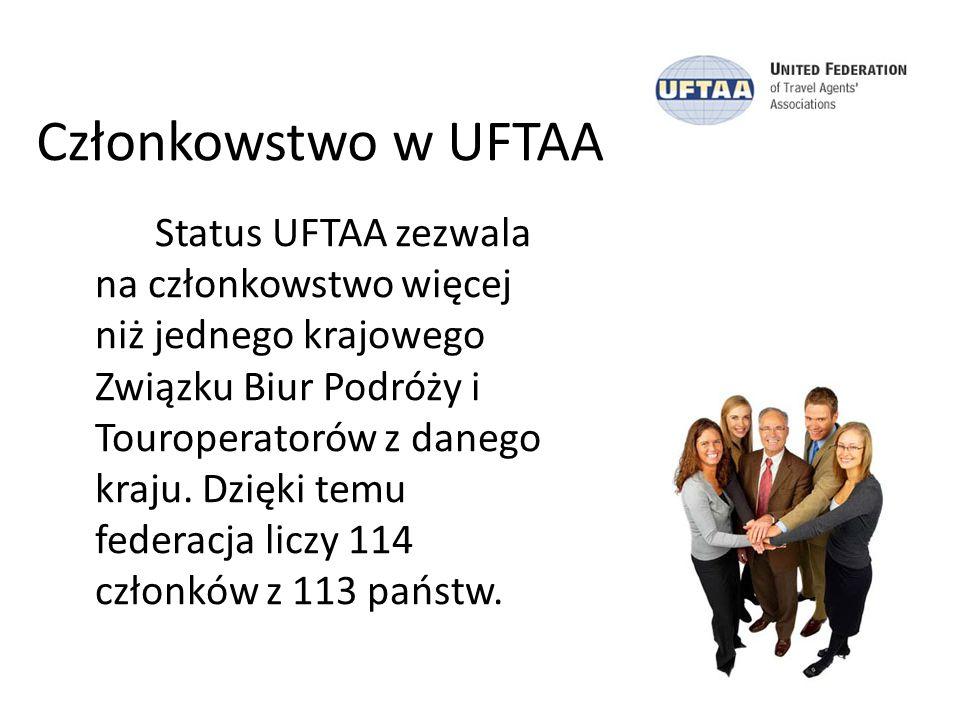 Członkowstwo w UFTAA Status UFTAA zezwala na członkowstwo więcej niż jednego krajowego Związku Biur Podróży i Touroperatorów z danego kraju. Dzięki te