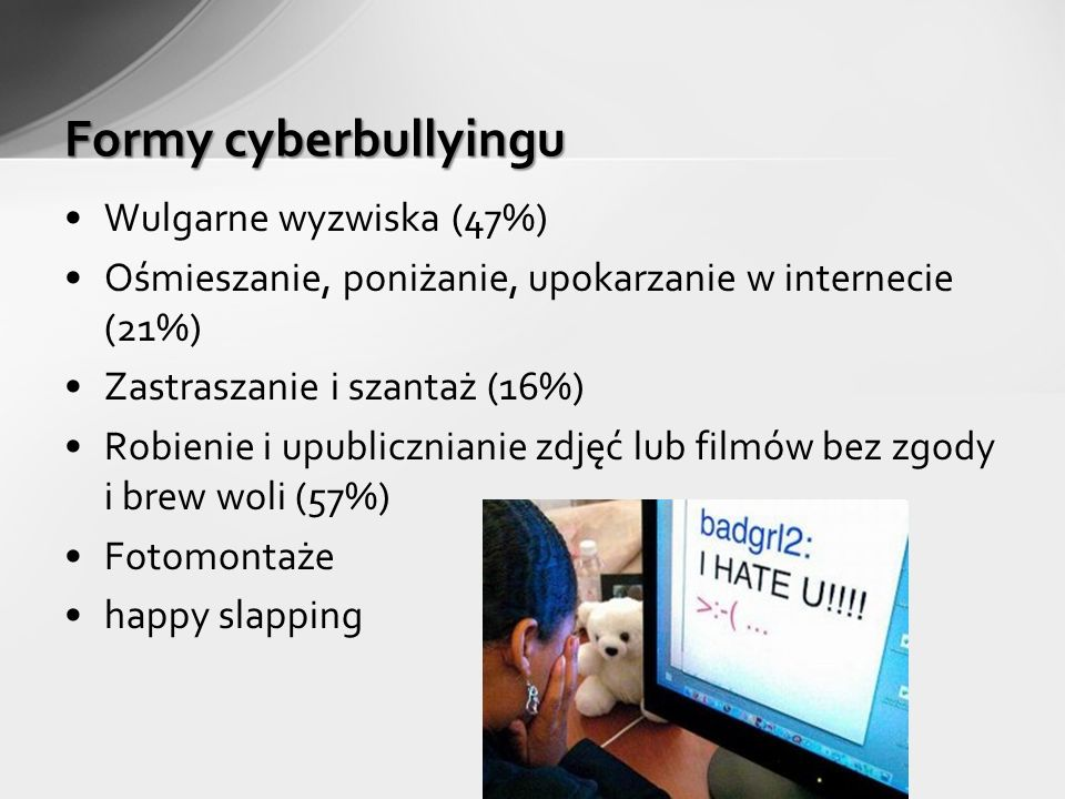 Wulgarne wyzwiska (47%) Ośmieszanie, poniżanie, upokarzanie w internecie (21%) Zastraszanie i szantaż (16%) Robienie i upublicznianie zdjęć lub filmów bez zgody i brew woli (57%) Fotomontaże happy slapping Formy cyberbullyingu