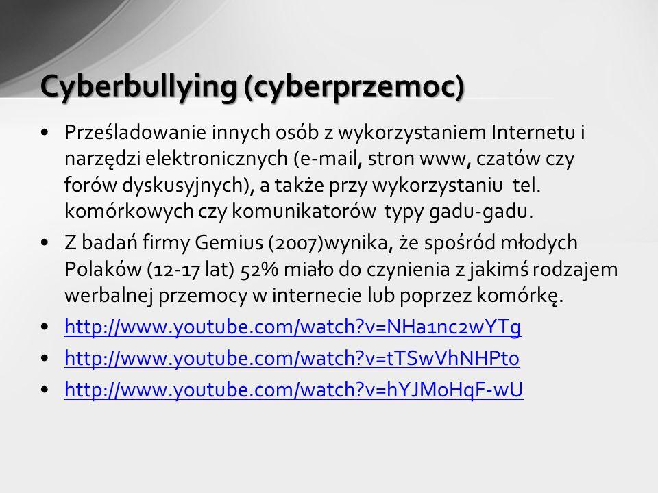 Prześladowanie innych osób z wykorzystaniem Internetu i narzędzi elektronicznych (e-mail, stron www, czatów czy forów dyskusyjnych), a także przy wykorzystaniu tel.