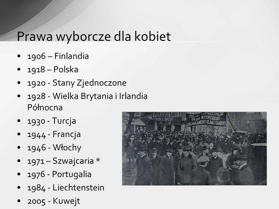1906 – Finlandia 1918 – Polska 1920 - Stany Zjednoczone 1928 - Wielka Brytania i Irlandia Północna 1930 - Turcja 1944 - Francja 1946 - Włochy 1971 – Szwajcaria * 1976 - Portugalia 1984 - Liechtenstein 2005 - Kuwejt Prawa wyborcze dla kobiet