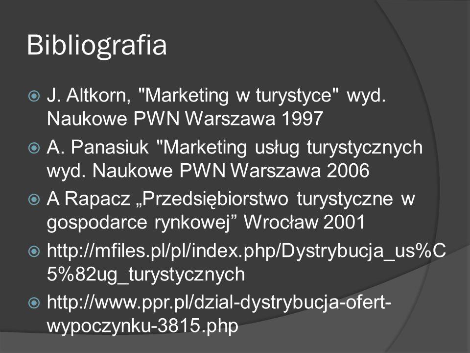 Bibliografia J. Altkorn, Marketing w turystyce wyd.