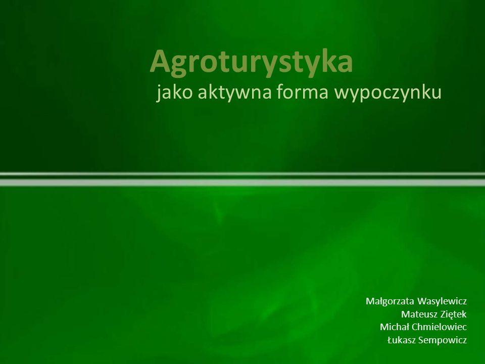 Małgorzata Wasylewicz Mateusz Ziętek Michał Chmielowiec Łukasz Sempowicz Agroturystyka jako aktywna forma wypoczynku