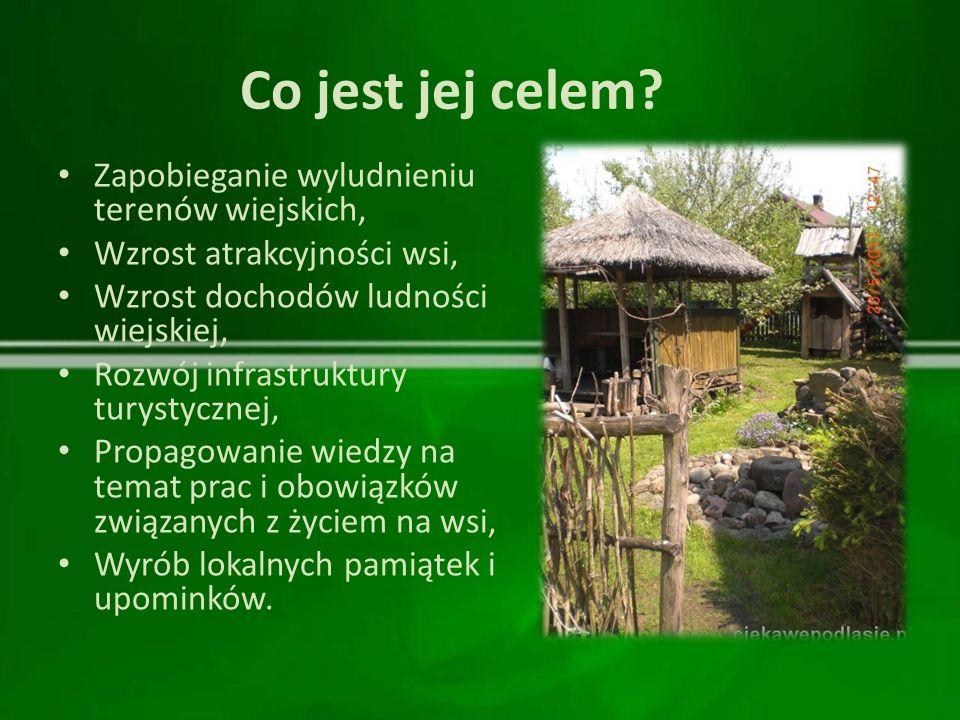 Co jest jej celem? Zapobieganie wyludnieniu terenów wiejskich, Wzrost atrakcyjności wsi, Wzrost dochodów ludności wiejskiej, Rozwój infrastruktury tur