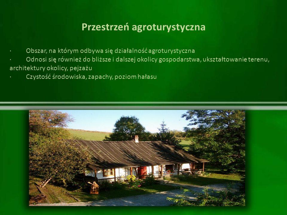 Przestrzeń agroturystyczna · Obszar, na którym odbywa się działalność agroturystyczna · Odnosi się również do bliższe i dalszej okolicy gospodarstwa,