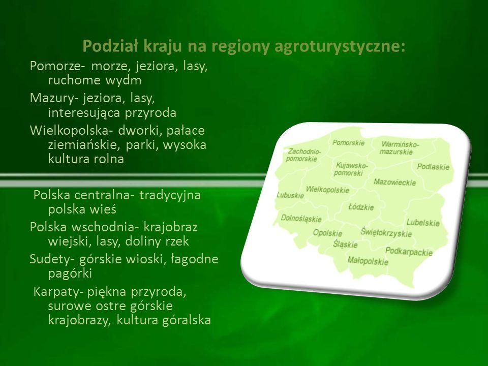 Podział kraju na regiony agroturystyczne: Pomorze- morze, jeziora, lasy, ruchome wydm Mazury- jeziora, lasy, interesująca przyroda Wielkopolska- dwork