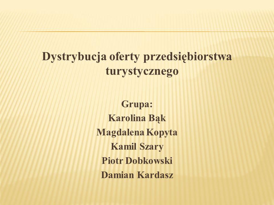 Dystrybucja oferty przedsiębiorstwa turystycznego Grupa: Karolina Bąk Magdalena Kopyta Kamil Szary Piotr Dobkowski Damian Kardasz