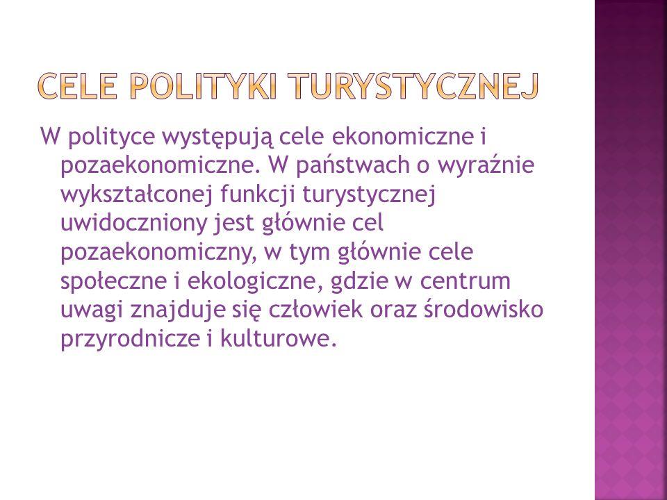 W polityce występują cele ekonomiczne i pozaekonomiczne. W państwach o wyraźnie wykształconej funkcji turystycznej uwidoczniony jest głównie cel pozae