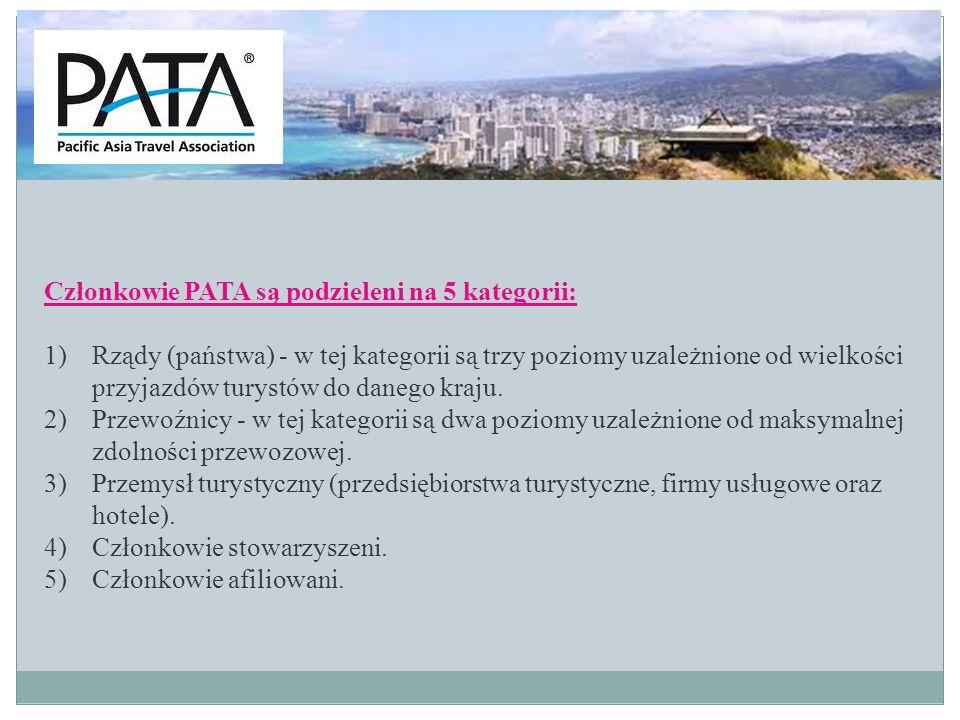 Członkowie PATA są podzieleni na 5 kategorii: 1)Rządy (państwa) - w tej kategorii są trzy poziomy uzależnione od wielkości przyjazdów turystów do dane
