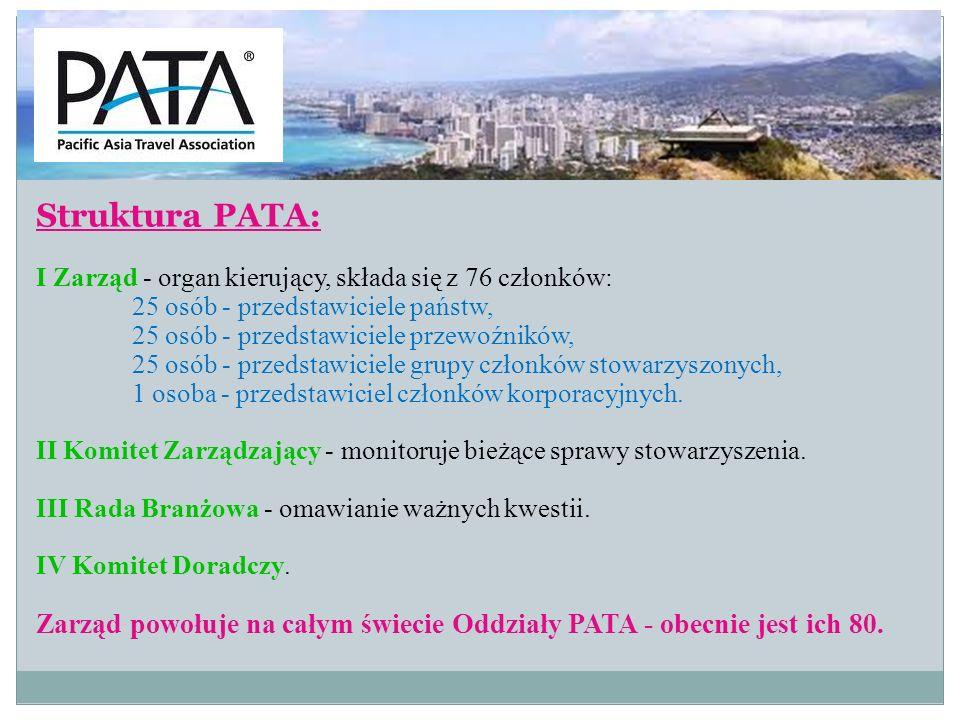 Działalność PATA: - zachęca do współpracy sektor prywatny i publiczny, małe i duże organizacje, - uczestniczy w targach turystycznych, - organizuje własne targi: PATA-Travel Mart, - organizuje imprezy dla swoich członków-PATA-GO-between,