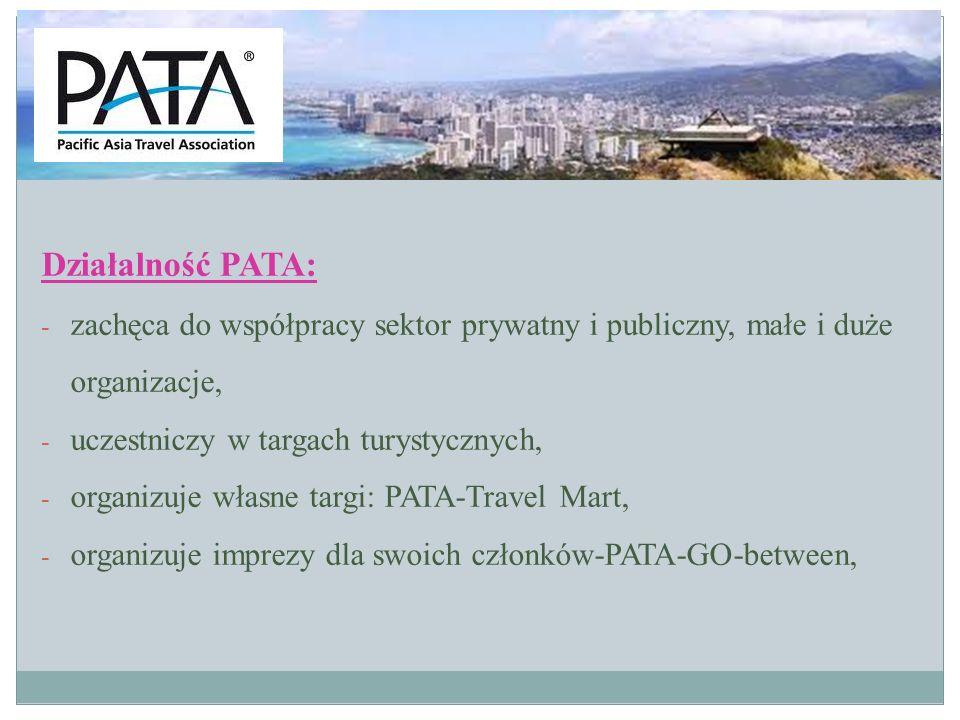 Działalność PATA c.d.: - prezentuje produkty i usługi turystyczne członków Stowarzyszenia zagranicznym touroperatorom, - troska o środowisko naturalne i kulturowe: Kodeks Podróżnika Kodeks Rozwoju Zrównoważonego - rozwijanie technologii informacyjnej, udoskonalenie bazy danych i stron internetowych www.travelwithpata.comwww.travelwithpata.com