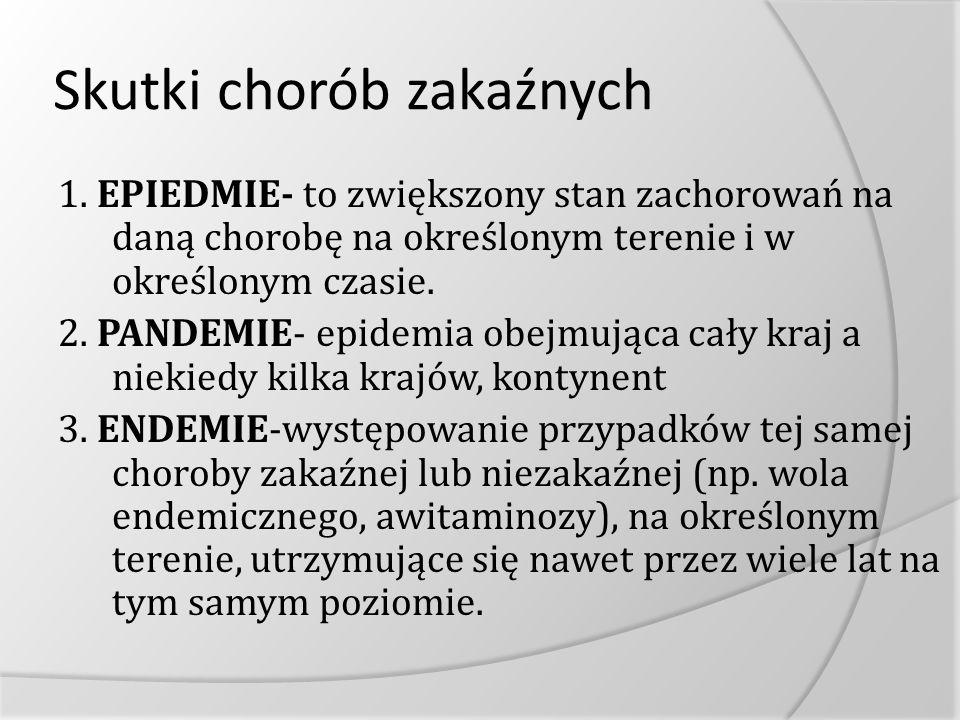 Skutki chorób zakaźnych 1. EPIEDMIE- to zwiększony stan zachorowań na daną chorobę na określonym terenie i w określonym czasie. 2. PANDEMIE- epidemia
