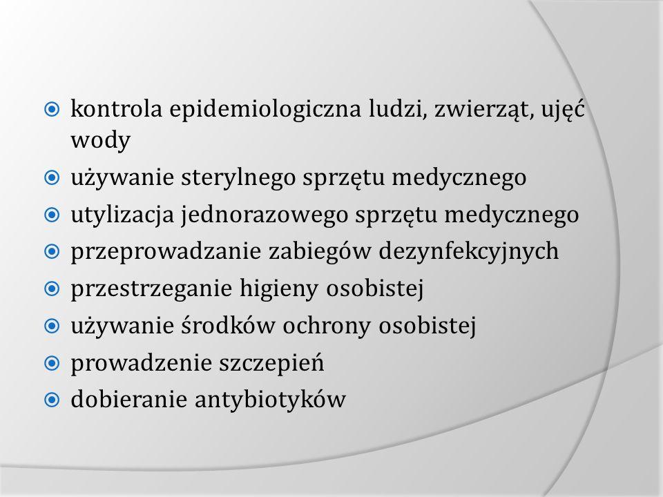 kontrola epidemiologiczna ludzi, zwierząt, ujęć wody używanie sterylnego sprzętu medycznego utylizacja jednorazowego sprzętu medycznego przeprowadzani