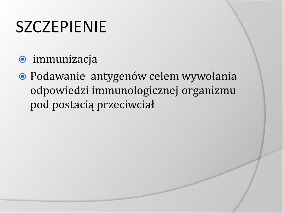 SZCZEPIENIE immunizacja Podawanie antygenów celem wywołania odpowiedzi immunologicznej organizmu pod postacią przeciwciał