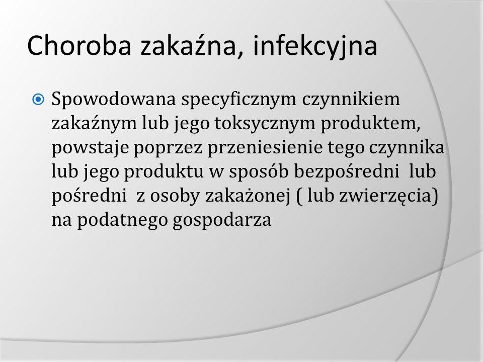Choroba zakaźna, infekcyjna Spowodowana specyficznym czynnikiem zakaźnym lub jego toksycznym produktem, powstaje poprzez przeniesienie tego czynnika l