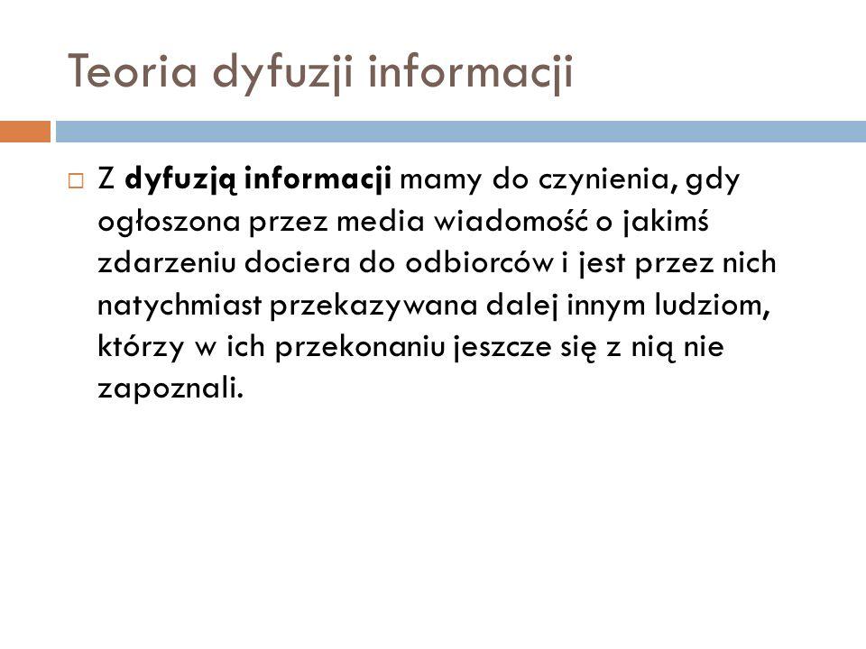 Teoria dyfuzji informacji Z dyfuzją informacji mamy do czynienia, gdy ogłoszona przez media wiadomość o jakimś zdarzeniu dociera do odbiorców i jest p