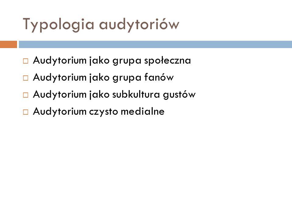 Typologia audytoriów Audytorium jako grupa społeczna Audytorium jako grupa fanów Audytorium jako subkultura gustów Audytorium czysto medialne