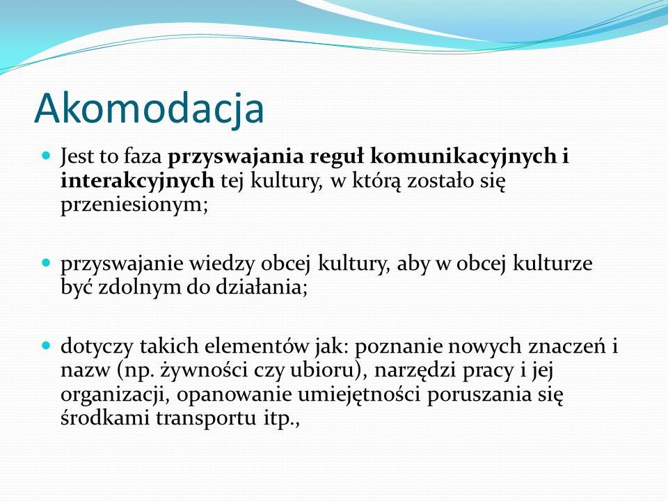 Akomodacja Jest to faza przyswajania reguł komunikacyjnych i interakcyjnych tej kultury, w którą zostało się przeniesionym; przyswajanie wiedzy obcej