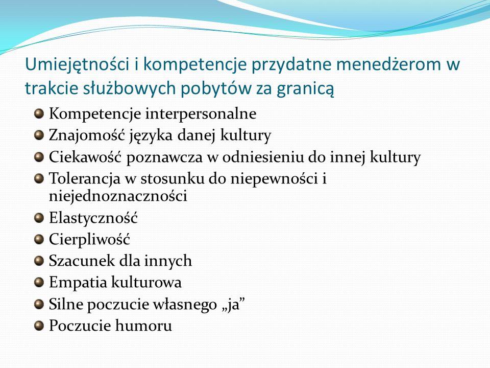 Umiejętności i kompetencje przydatne menedżerom w trakcie służbowych pobytów za granicą Kompetencje interpersonalne Znajomość języka danej kultury Cie