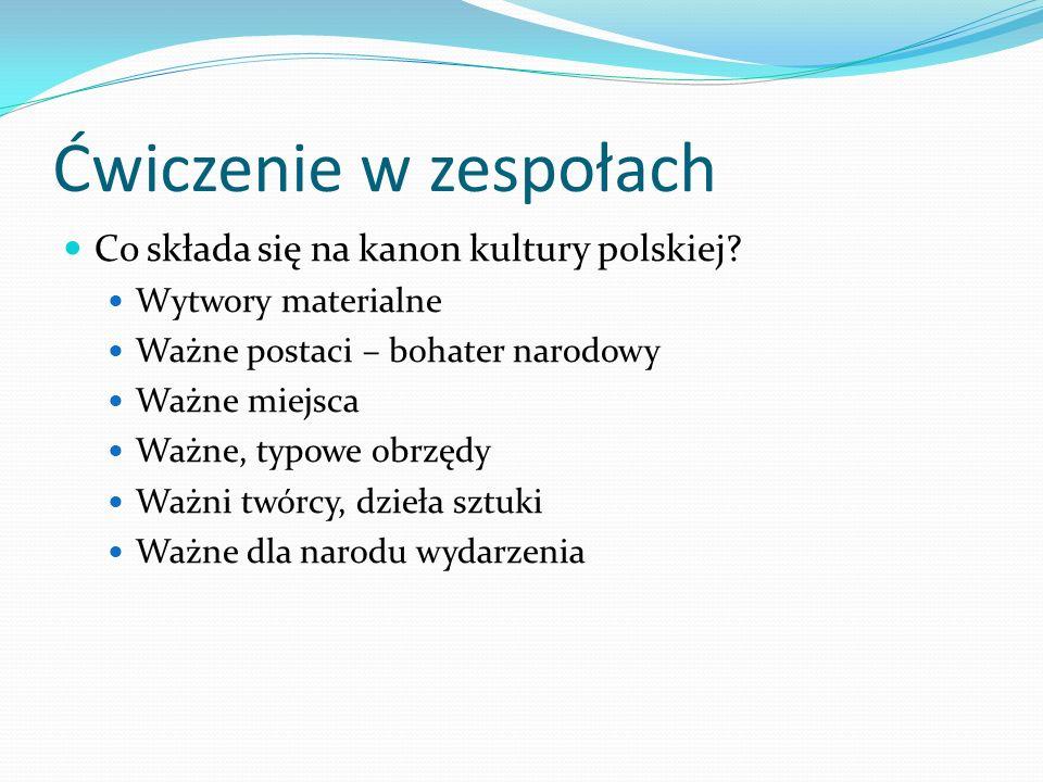 Ćwiczenie w zespołach Co składa się na kanon kultury polskiej? Wytwory materialne Ważne postaci – bohater narodowy Ważne miejsca Ważne, typowe obrzędy