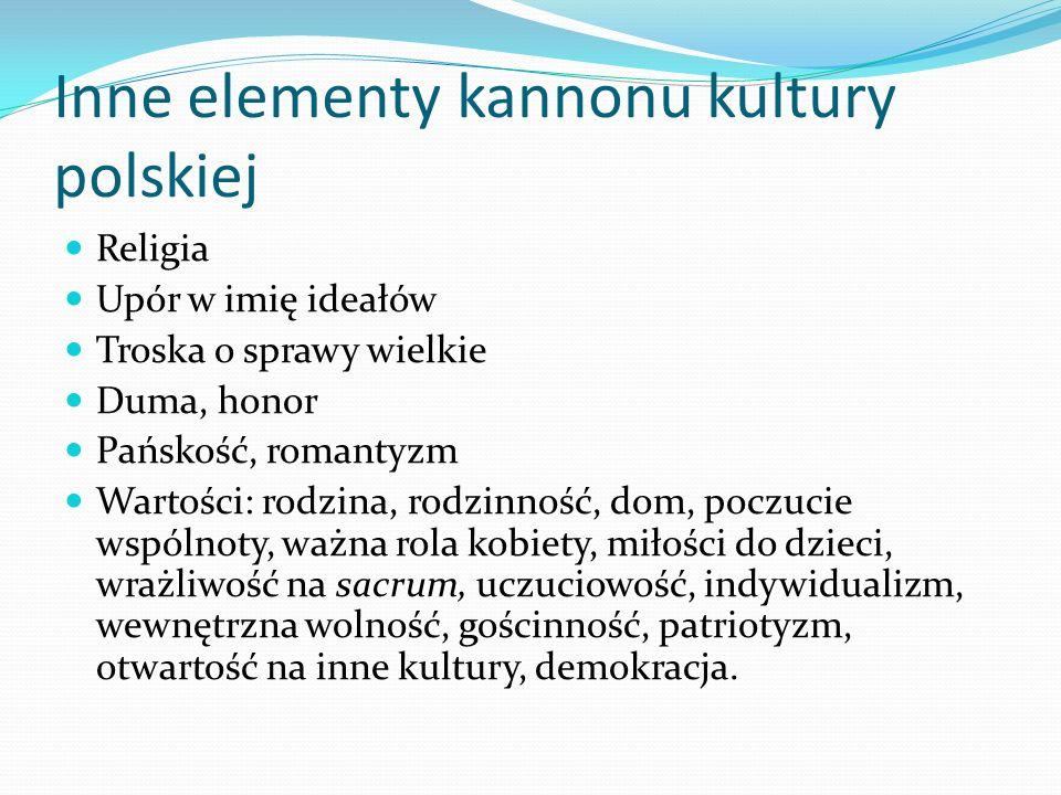 Inne elementy kannonu kultury polskiej Religia Upór w imię ideałów Troska o sprawy wielkie Duma, honor Pańskość, romantyzm Wartości: rodzina, rodzinno