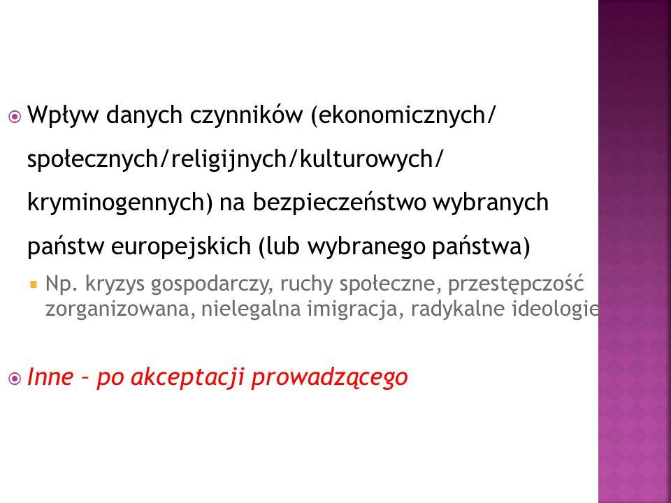 Wpływ danych czynników (ekonomicznych/ społecznych/religijnych/kulturowych/ kryminogennych) na bezpieczeństwo wybranych państw europejskich (lub wybranego państwa) Np.