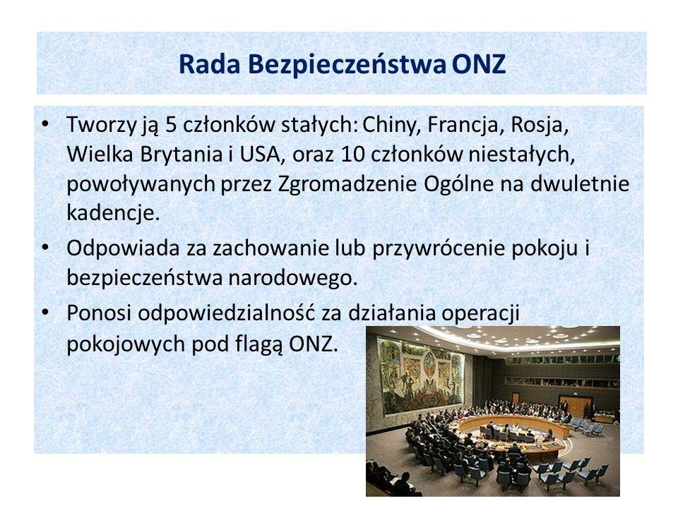 Tworzy ją 5 członków stałych: Chiny, Francja, Rosja, Wielka Brytania i USA, oraz 10 członków niestałych, powoływanych przez Zgromadzenie Ogólne na dwu