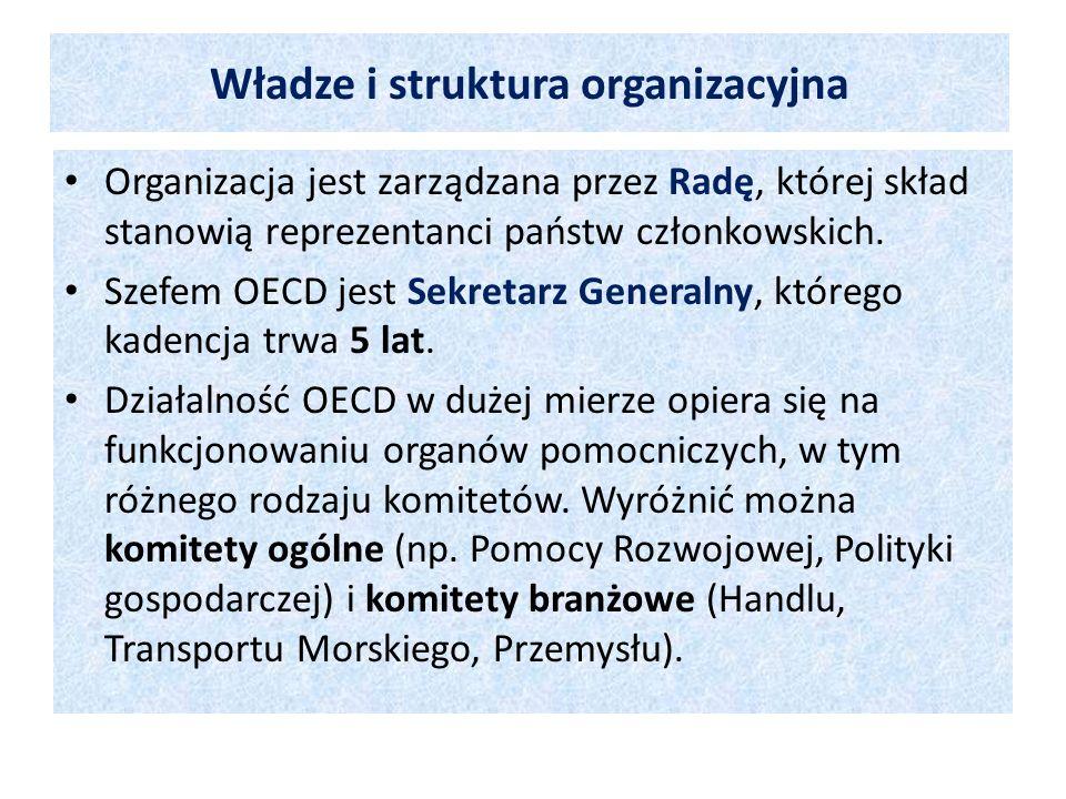 Władze i struktura organizacyjna Organizacja jest zarządzana przez Radę, której skład stanowią reprezentanci państw członkowskich. Szefem OECD jest Se
