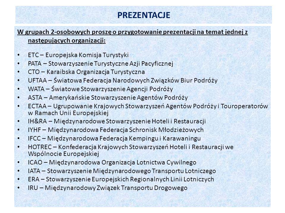 PREZENTACJE W grupach 2-osobowych proszę o przygotowanie prezentacji na temat jednej z następujących organizacji: ETC – Europejska Komisja Turystyki P