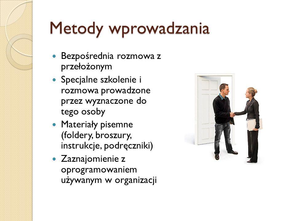 Metody wprowadzania Bezpośrednia rozmowa z przełożonym Specjalne szkolenie i rozmowa prowadzone przez wyznaczone do tego osoby Materiały pisemne (fold