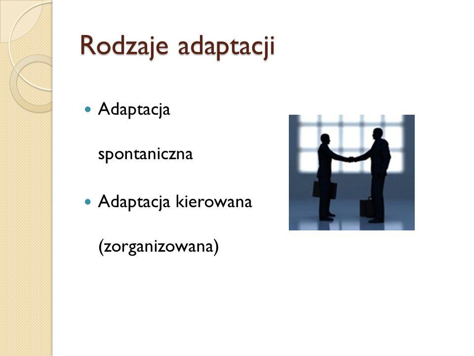 Rodzaje adaptacji Adaptacja spontaniczna Adaptacja kierowana (zorganizowana)
