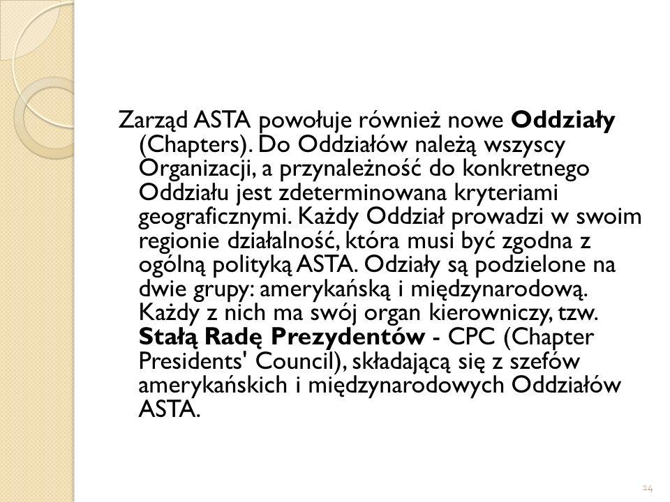 14 Zarząd ASTA powołuje również nowe Oddziały (Chapters). Do Oddziałów należą wszyscy Organizacji, a przynależność do konkretnego Oddziału jest zdeter