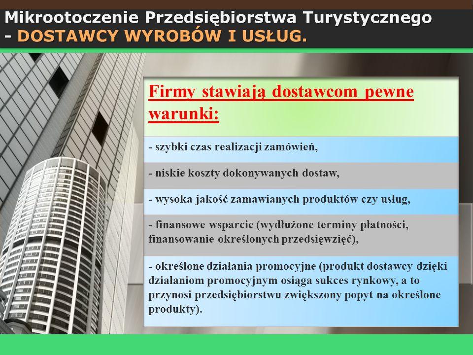 Mikrootoczenie Przedsiębiorstwa Turystycznego - DOSTAWCY WYROBÓW I USŁUG.