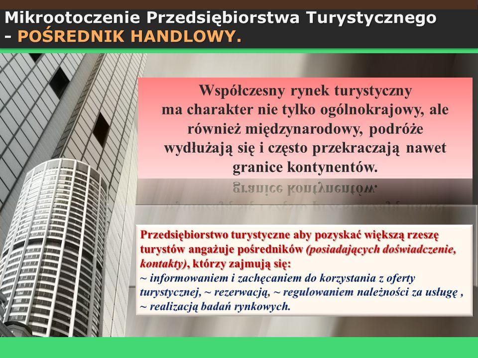 Mikrootoczenie Przedsiębiorstwa Turystycznego - POŚREDNIK HANDLOWY. Mikrootoczenie Przedsiębiorstwa Turystycznego - POŚREDNIK HANDLOWY.