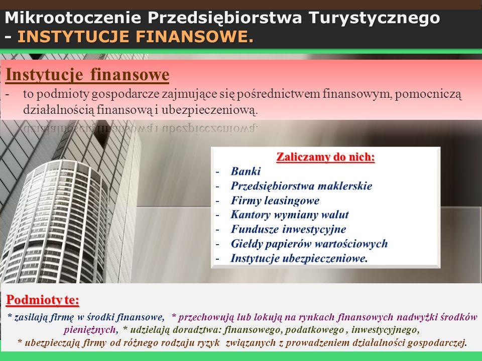 Podmioty te: * zasilają firmę w środki finansowe, * przechowują lub lokują na rynkach finansowych nadwyżki środków pieniężnych, * udzielają doradztwa: