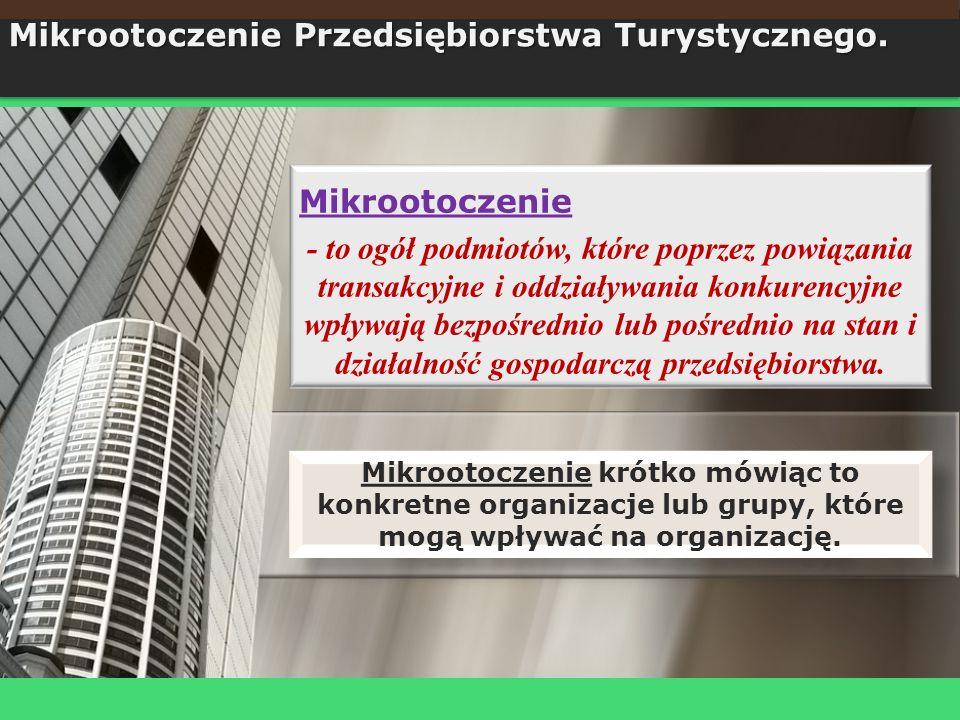 Mikrootoczenie - to ogół podmiotów, które poprzez powiązania transakcyjne i oddziaływania konkurencyjne wpływają bezpośrednio lub pośrednio na stan i