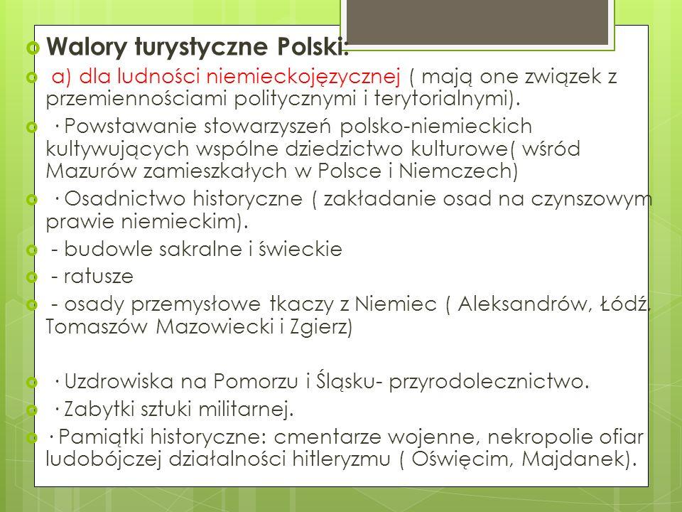Walory turystyczne Polski: a) dla ludności niemieckojęzycznej ( mają one związek z przemiennościami politycznymi i terytorialnymi). · Powstawanie stow