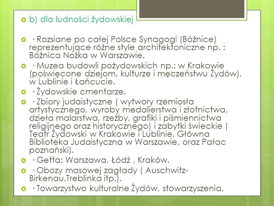 b) dla ludności żydowskiej · Rozsiane po całej Polsce Synagogi (Bóżnice) reprezentujące różne style architektoniczne np. : Bóżnica Nożka w Warszawie.