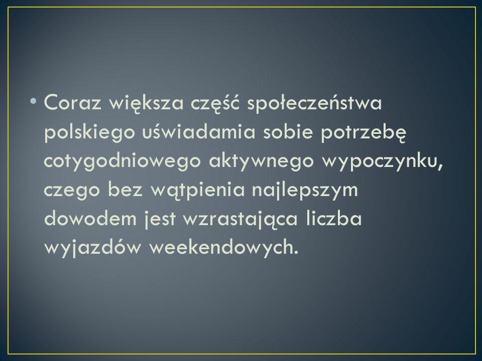 Coraz większa część społeczeństwa polskiego uświadamia sobie potrzebę cotygodniowego aktywnego wypoczynku, czego bez wątpienia najlepszym dowodem jest wzrastająca liczba wyjazdów weekendowych.