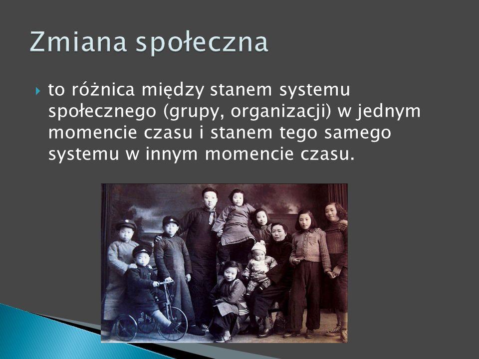 to różnica między stanem systemu społecznego (grupy, organizacji) w jednym momencie czasu i stanem tego samego systemu w innym momencie czasu.
