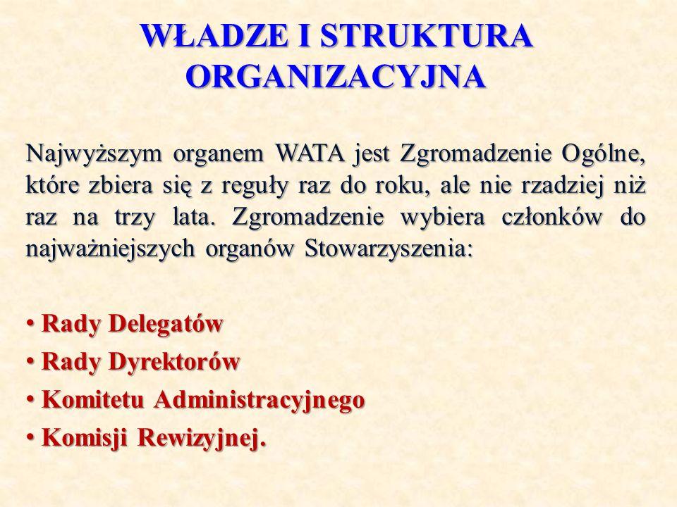 WŁADZE I STRUKTURA ORGANIZACYJNA Najwyższym organem WATA jest Zgromadzenie Ogólne, które zbiera się z reguły raz do roku, ale nie rzadziej niż raz na