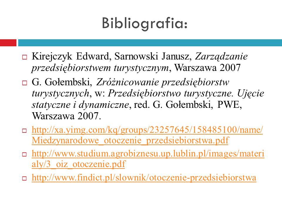Bibliografia: Kirejczyk Edward, Sarnowski Janusz, Zarządzanie przedsiębiorstwem turystycznym, Warszawa 2007 G. Gołembski, Zróżnicowanie przedsiębiorst