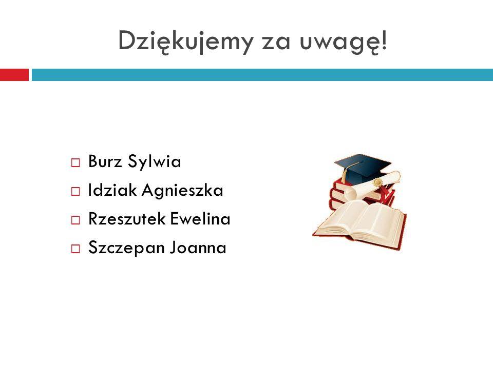 Dziękujemy za uwagę! Burz Sylwia Idziak Agnieszka Rzeszutek Ewelina Szczepan Joanna