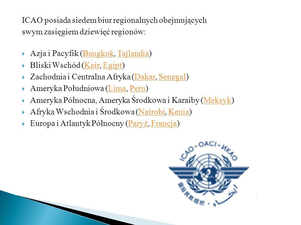 ICAO posiada siedem biur regionalnych obejmujących swym zasięgiem dziewięć regionów: Azja i Pacyfik (Bangkok, Tajlandia)BangkokTajlandia Bliski Wschód (Kair, Egipt)KairEgipt Zachodnia i Centralna Afryka (Dakar, Senegal)DakarSenegal Ameryka Południowa (Lima, Peru)LimaPeru Ameryka Północna, Ameryka Środkowa i Karaiby (Meksyk)Meksyk Afryka Wschodnia i Środkowa (Nairobi, Kenia)NairobiKenia Europa i Atlantyk Północny (Paryż, Francja)ParyżFrancja