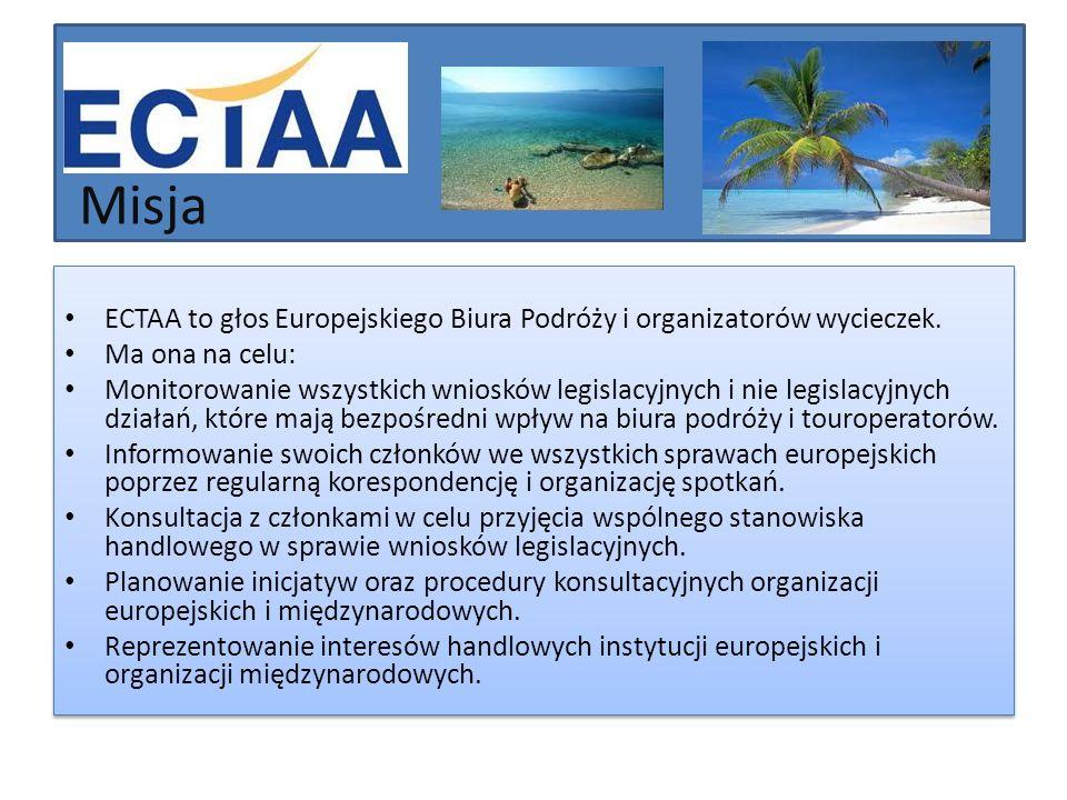 Działalność ECTAA ściśle współpracuje z każdą z instytucji europejskich i monitoruje każdy rozwój na szczeblu europejskim, który może mieć wpływ na turystykę.
