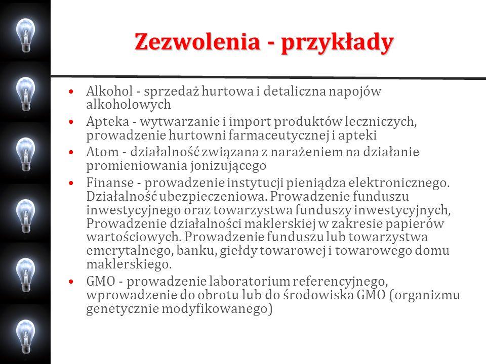 Zezwolenia - przykłady Alkohol - sprzedaż hurtowa i detaliczna napojów alkoholowych Apteka - wytwarzanie i import produktów leczniczych, prowadzenie h