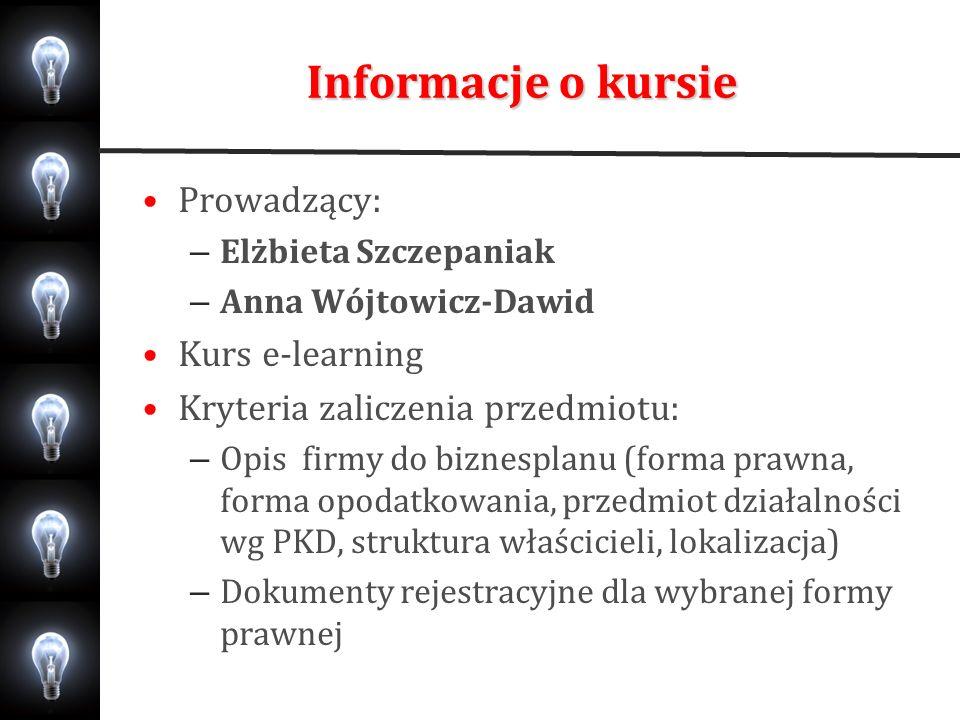 Informacje o kursie Prowadzący: – Elżbieta Szczepaniak – Anna Wójtowicz-Dawid Kurs e-learning Kryteria zaliczenia przedmiotu: – Opis firmy do biznespl