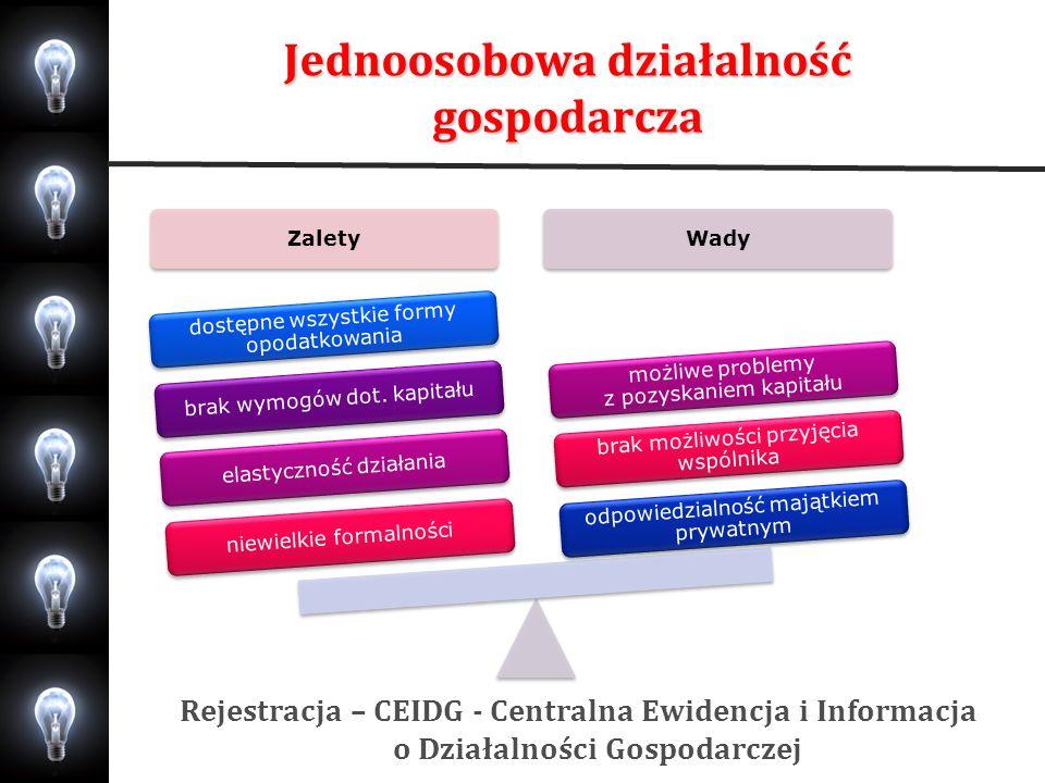 Jednoosobowa działalność gospodarcza Rejestracja – CEIDG - Centralna Ewidencja i Informacja o Działalności Gospodarczej ZaletyWady niewielkie formalno
