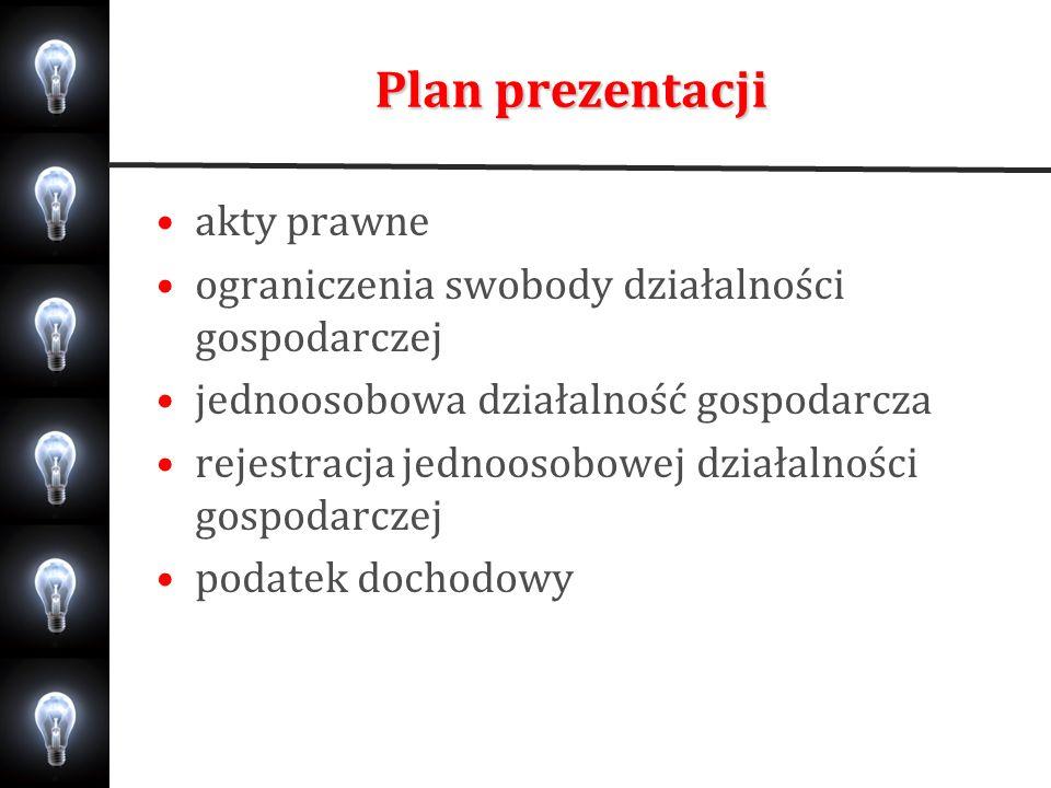 Plan prezentacji akty prawne ograniczenia swobody działalności gospodarczej jednoosobowa działalność gospodarcza rejestracja jednoosobowej działalnośc
